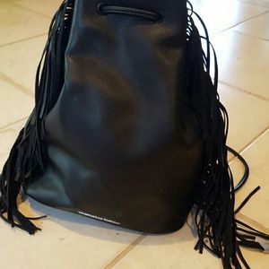 Victoria's Secret Black Fringe Backpack Rare New